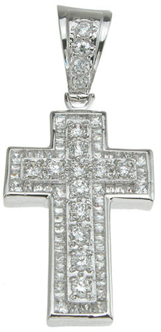 925 sterling silver rhodium finish cross pave pendant