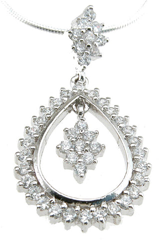 925 sterling silver rhodium finish cz brilliant fashion pendant 1 ct