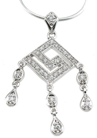 925 sterling silver rhodium finish chandelier antique style pave pendant