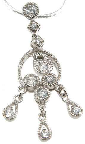 925 sterling silver rhodium finish chandelier antique style bezel pendant