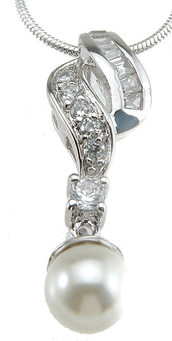 925 sterling silver rhodium finish synthetic pearl fashion pendant