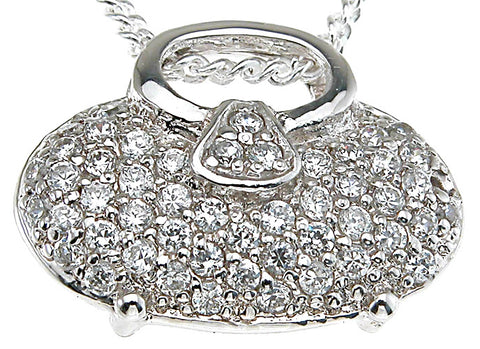 925 sterling silver rhodium finish pave pendant