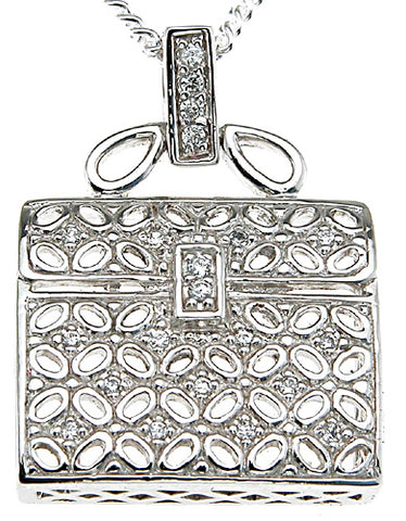 925 sterling silver rhodium finish cz fashion pave pendant