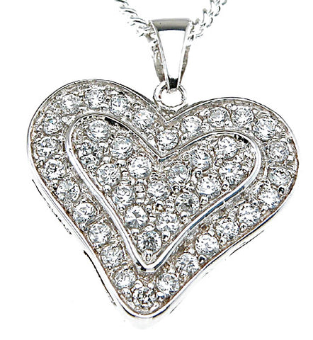 925 sterling silver rhodium finish heart fashion pave pendant