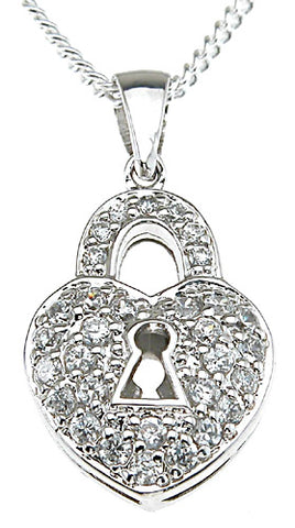 925 sterling silver rhodium finish lock fashion pave pendant