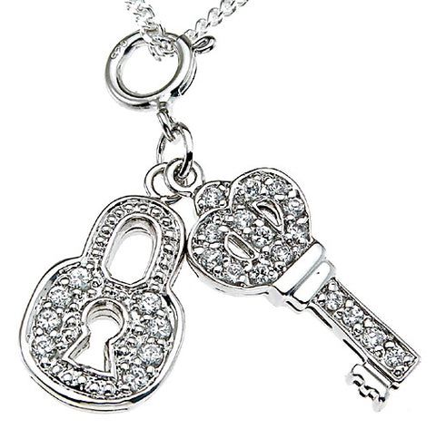 925 sterling silver rhodium finish lock key fashion pave pendant