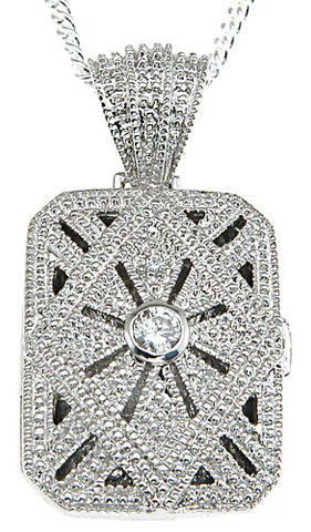 925 sterling silver rhodium finish locket antique style lock pave pendant