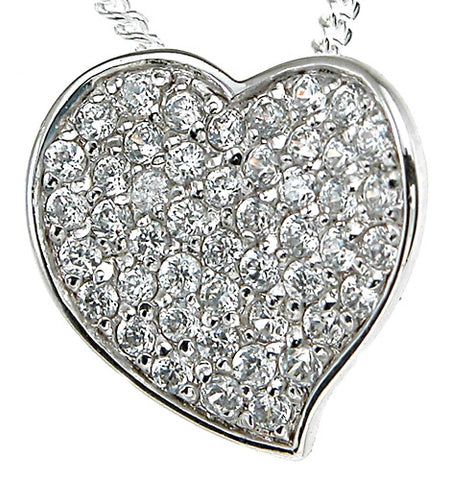 925 sterling silver rhodium finish heart fashion heart pave pendant