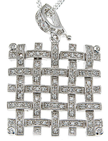 925 sterling silver rhodium finish cz pave pendant