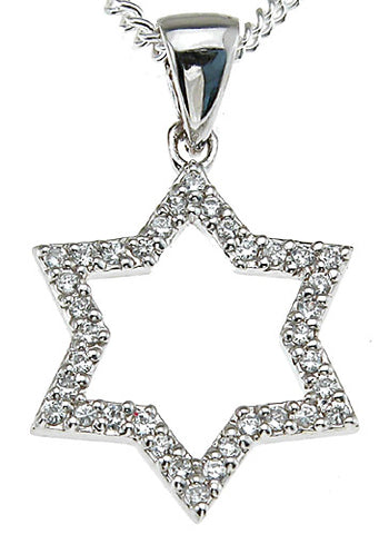 925 sterling silver rhodium finish star fashion prong pendant