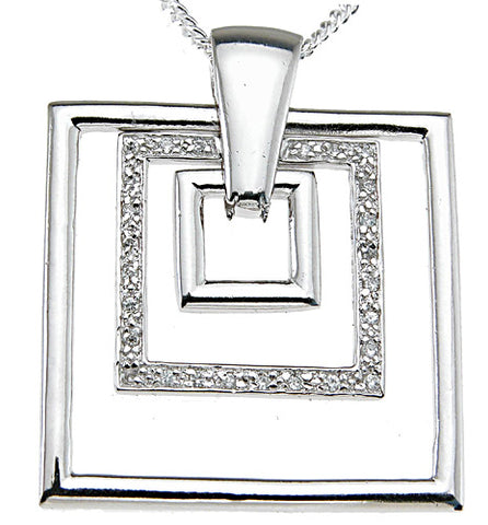 925 sterling silver rhodium finish cz sparkle pave pendant