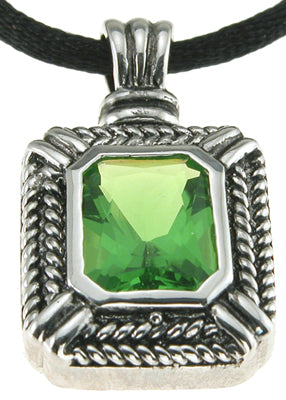 925 sterling silver rhodium finish simulated tourmaline emerald cut designer inspired pendant