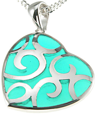 925 sterling silver rhodium finish heart pendant