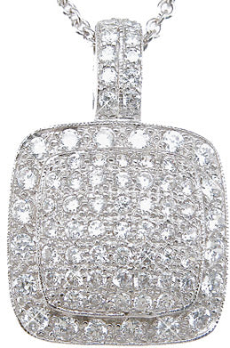 925 sterling silver rhodium finish brilliant fashion pave pendant 1 5 ct