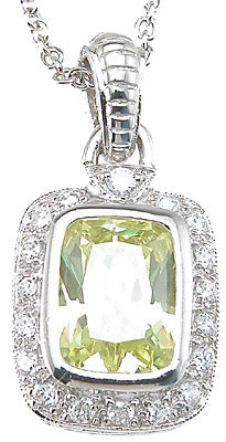 925 sterling silver rhodium finish emerald cut antique style pave pendant 5 ct