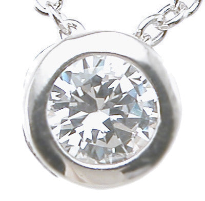 925 sterling silver rhodium finish brilliant fashion bezel pendant
