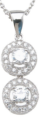 925 sterling silver rhodium finish brilliant antique style pave pendant 1 ct