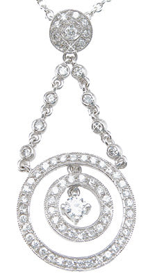 925 sterling silver rhodium finish antique style pendant 1 ct