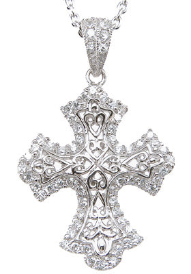 925 sterling silver rhodium finish brilliant cross antique style pave pendant 1 2 ct