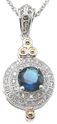 925 sterling silver rhodium finish brilliant antique style pave pendant 1 5 ct