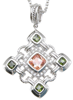 925 sterling silver rhodium finish princess antique style bezel pendant