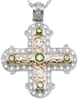 925 sterling silver rhodium finish brilliant cross antique style pave pendant 1 5 ct