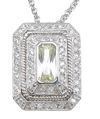 925 sterling silver rhodium finish emerald cut antique style pave pendant 2 ct