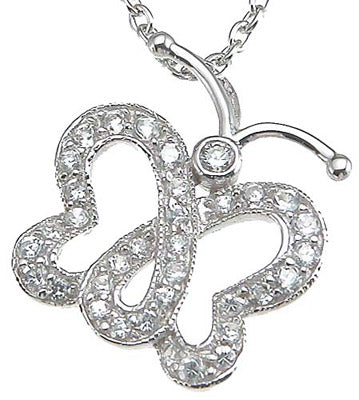 925 sterling silver rhodium finish cz butterfly pendant