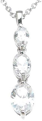 925 sterling silver rhodium finish cz oval three stone pendant