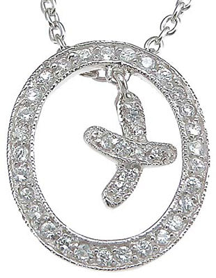 925 sterling silver rhodium finish cz hugs and kisses xo pendant