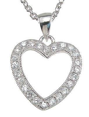 925 sterling silver rhodium finish cz heart pave pendant