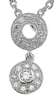 925 sterling silver rhodium finish cz antique style pendant