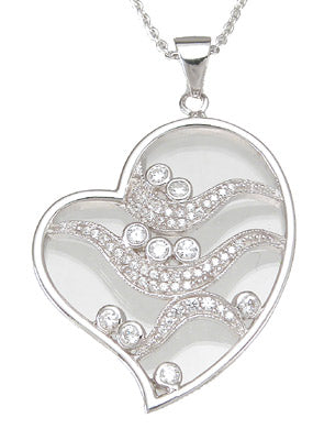925 sterling silver rhodium finish cz brilliant heart bezel pendant