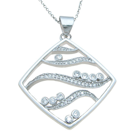 925 sterling silver rhodium finish cz brilliant pave pendant