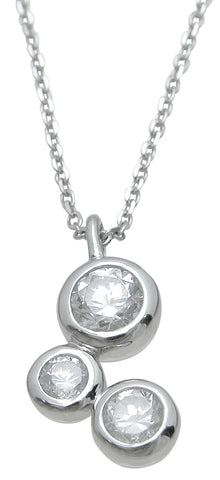 925 sterling silver fashion three stone pendant 2 ct