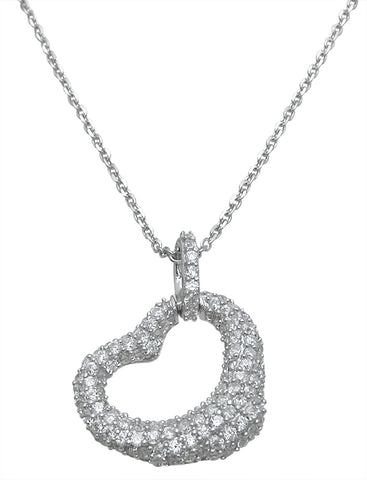 925 sterling silver fashion heart pendant 2 5 ct
