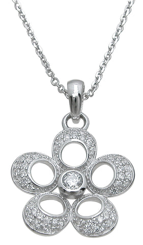 925 sterling silver fashion flower pendant 1 25 ct