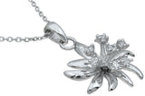 925 sterling silver fashion flower pendant 0 25 ct