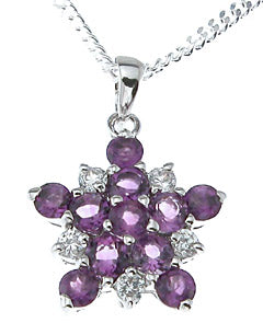 925 sterling silver platinum finish genuine amethyst pendant