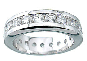 925 sterling silver platinum finish brilliant channel set band
