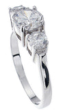 925 sterling silver platinum finish brilliant three stone engagement ring 1 5 ct