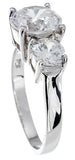 925 sterling silver platinum finish brilliant three stone engagement ring 2 5 ct