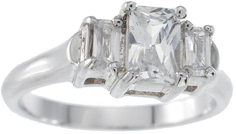 925 sterling silver platinum finish emerald cut three stone engagement ring