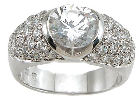 925 sterling silver rhodium finish cz brilliant fashion anniversary ring