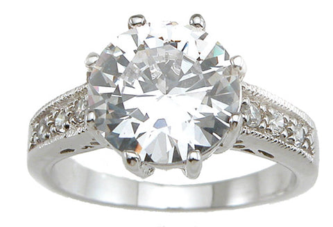 925 sterling silver rhodium finish cz brilliant solitaire engagement ring solitaire 3 ct
