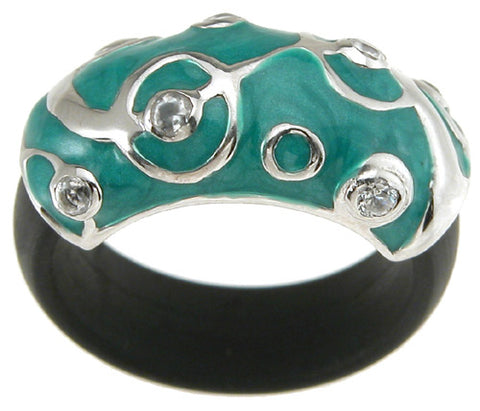 925 sterling silver rhodium finish enamel fashion rubber ring 10mm 1 4 ct