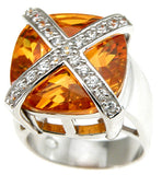 925 sterling silver rhodium finish simulated citrine fashion pave anniversary ring