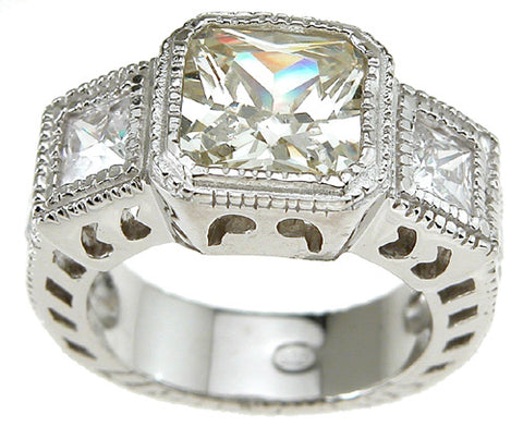 925 sterling silver rhodium finish princess antique style engagement ring