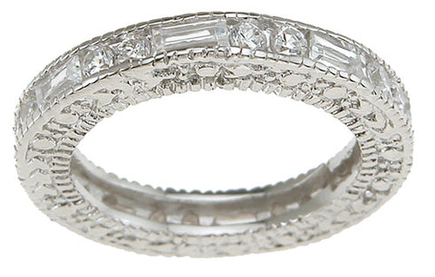 925 sterling silver rhodium finish brilliant baguettes antique style engagement band