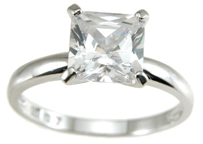 925 sterling silver cz princess solitaire wedding ring 1 ct